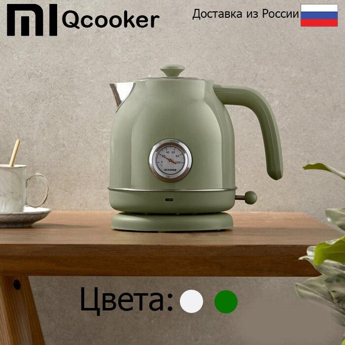 Чайник Xiaomi qcooker, электрический чайник с датчиком температуры (cs sh01/qs 1701) (зеленый/белый). Мощность 1800, Объем 1. l