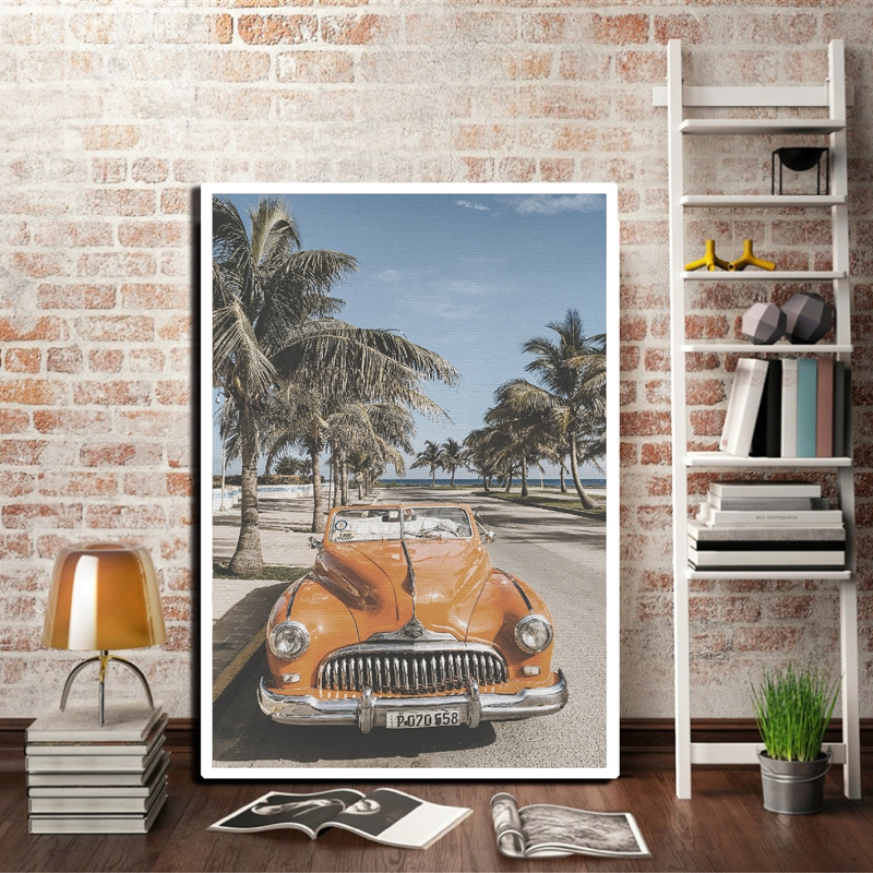 Beach Cuba Landscape Photography Poster Vintage Car Palm Tree Canvas Prints Beach Summer Feeling Wall Art Painting Home Decor image