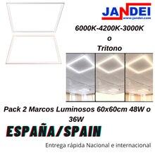 Jandei x2 Marco Luminoso LED 3000K/4000K/6000K/Tricolor 48W panel falso techo 60x60 panel led led panel led 60x60 plafon led