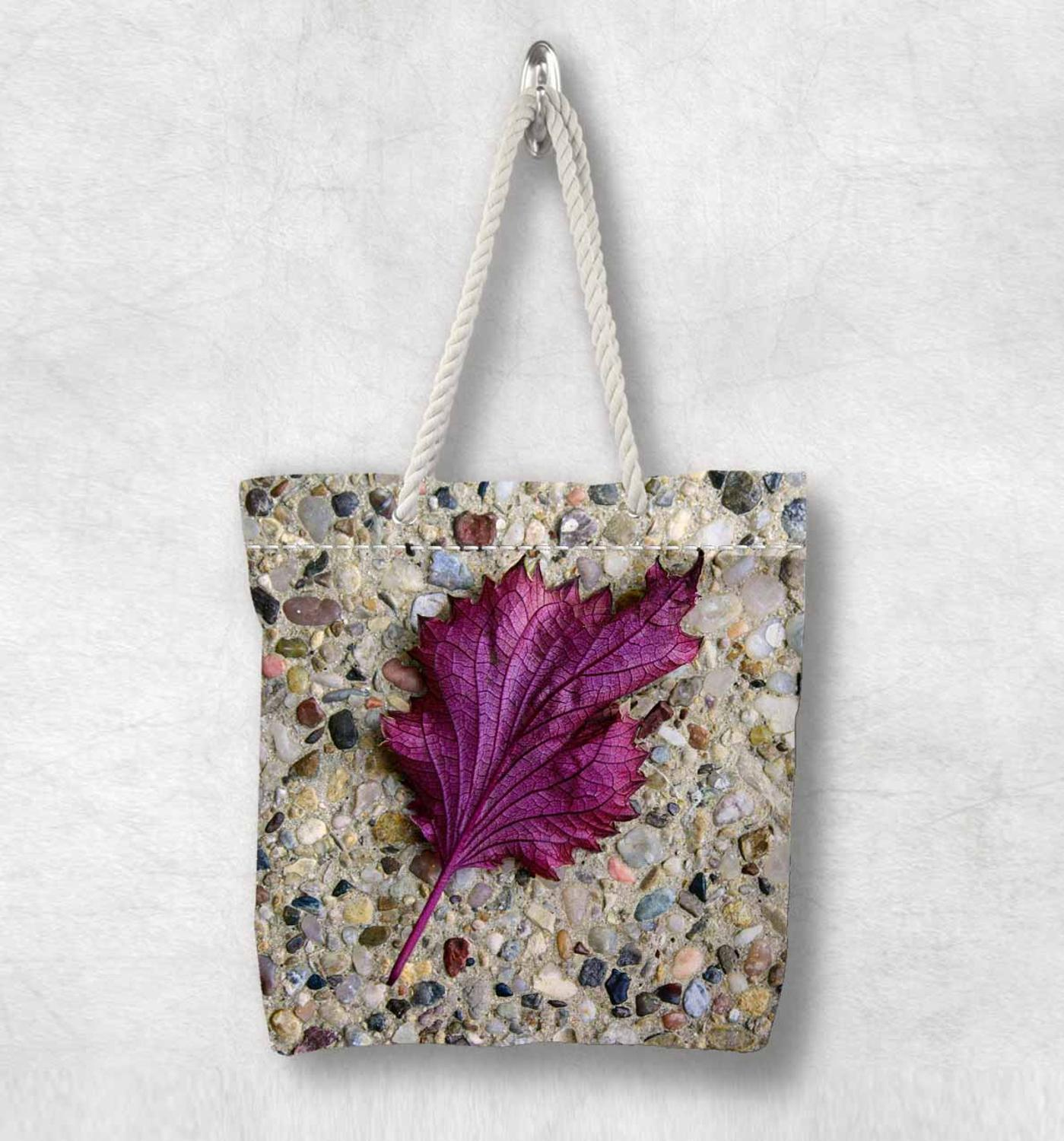 Else Brown Stones On Purple Leaf Floral New Fashion White Rope Handle Canvas Bag Cotton Canvas Zippered Tote Bag Shoulder Bag