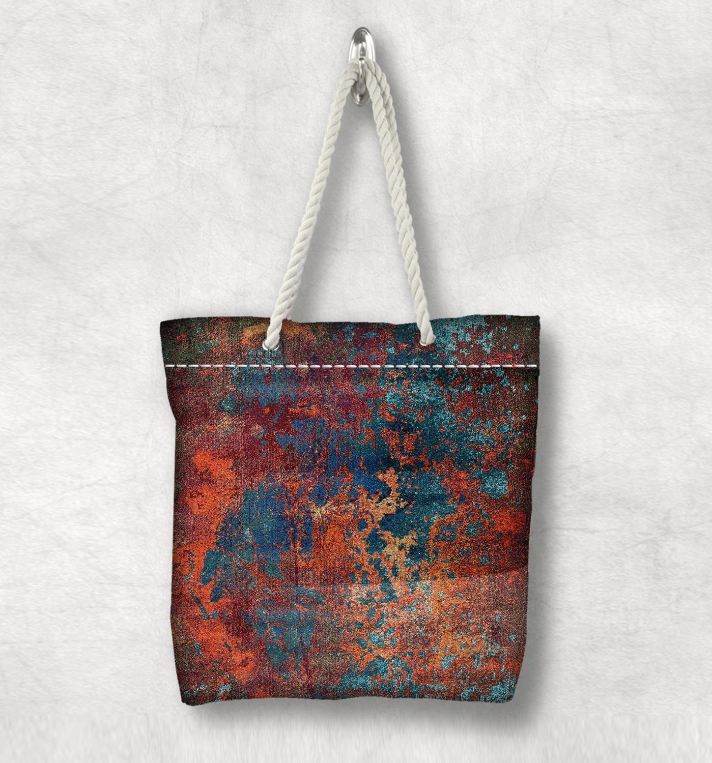 Else Orange Green Abstract Painting Anatolia Antique White Rope Handle Canvas Bag Cotton Canvas Zippered Tote Bag Shoulder Bag