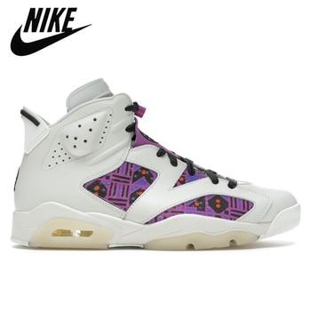 Authentic Nike Air Jordan Retro 6 Men UNC Quai54 Sail Brown Basketball Shoes Sports Sneakers Trainers