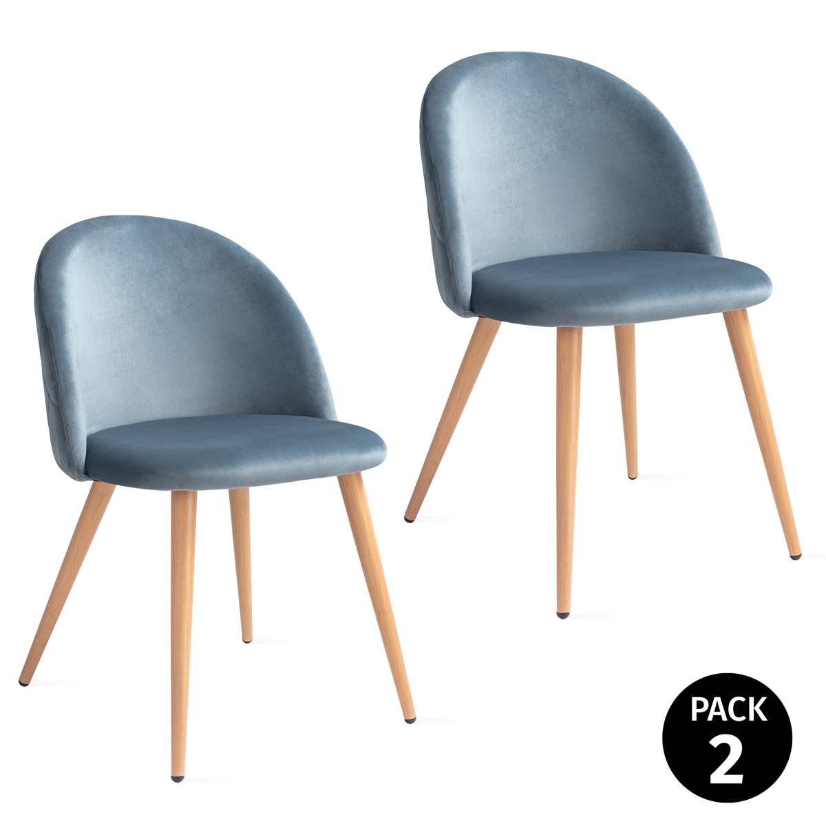 Pack 2 Sillas De Dining Room Tapizadas Terciopleo's Blue Pearl, Bar Chair Chair, Chair Nordica Respaldo Up Seat Padded 49x46x77cm