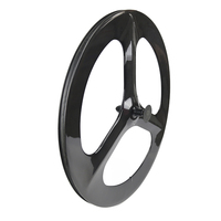700C front 3 spokes clincher 3 spokes wheels rear carbon clincher disc wheel for Time Trial TT wheel 3 spoke wheelset