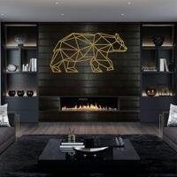 Arte de pared de Metal  silueta de oso de Metal geométrico  decoración de pared de Metal  oro
