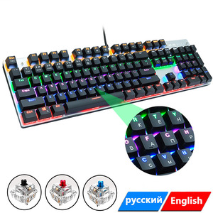 Клавиатура с Цветной подсветкой, металлическая механическая клавиатура, 104 клавиши, игровые клавиатуры для планшетов, настольных компьютер...