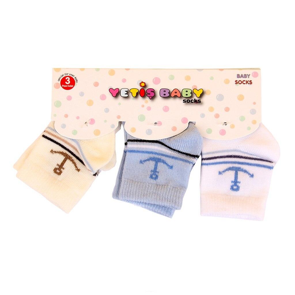 Multicolour 3'lü Newborn Baby Socks