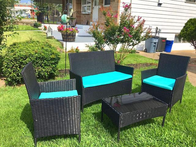 Amolife 4 Pieces Patio Furniture Sets Rattan Wicker with 2 Cushioned Chairs, 1 Sofa , 1 Glass Top Table