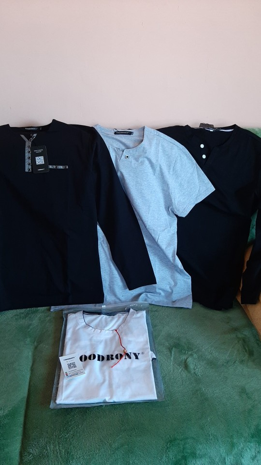 T-shirt homme coton COODRONY manches longues col boutons