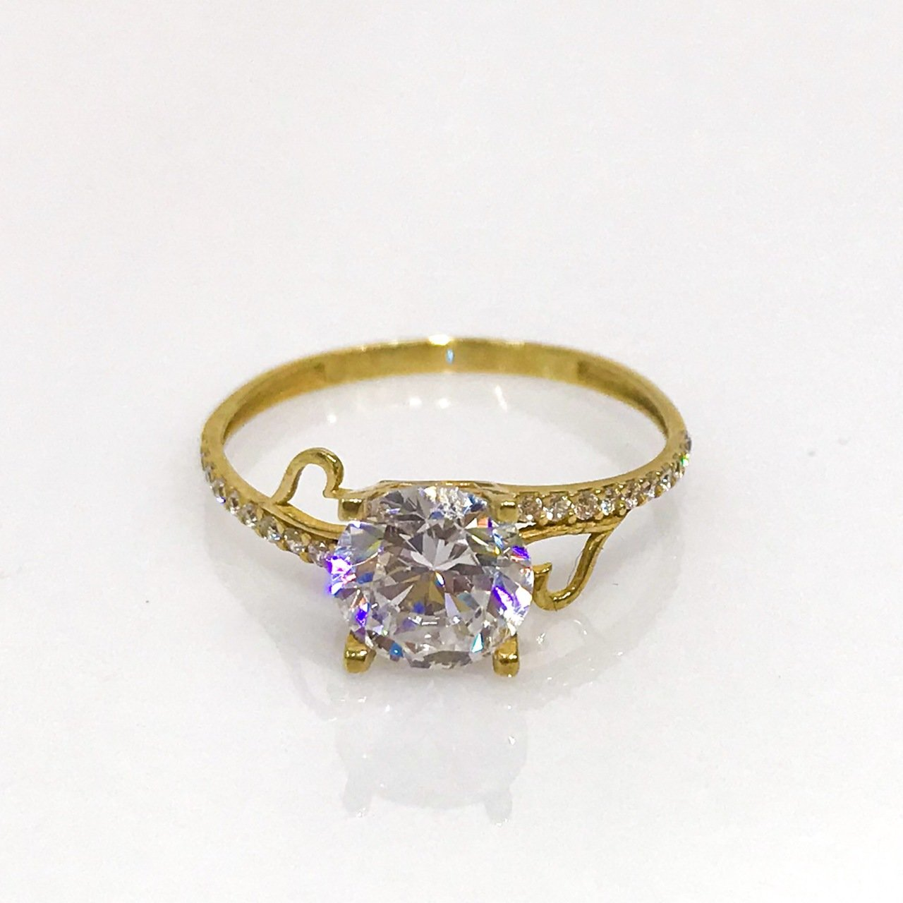 4 Nail 8 Mm Diamond Montür Gold Engagement Ring