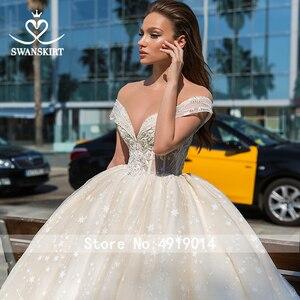 Image 3 - Милая принцесса бальное платье свадебное платье 2020 Swanskirt с открытыми плечами бисер длинный шлейф Свадебная Иллюзия Vestido de noiva F305