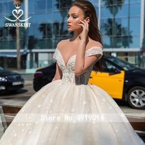 Image 3 - Sweetheart Princess Ball Gown Wedding Dress 2020 Swanskirt Off Shoulder Beaded Long Train Bridal Illusion Vestido de noiva F305