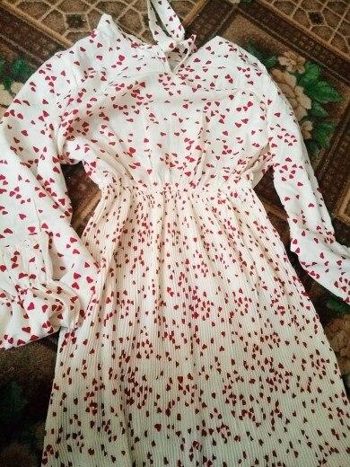 Spring Autumn Women Chiffon Print Dress Long Sleeve Vintage Bow Collar Floral Dresses Female Causal Thick Ruffles Pleated Dress