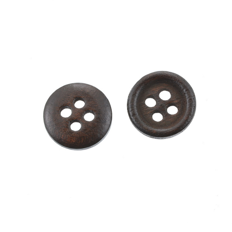 Brown Round Depression Four-hole Wooden <font><b>Button</b></font> <font><b>12</b></font> <font><b>mm</b></font>-1 Group of 200 image