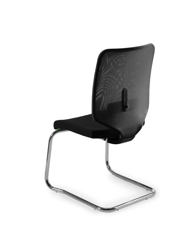 Chair's Reception Desk Ergonomic With Dimmable And Skate Chrome Respaldo De Mesh Lumbar Support In Black Color And Asient