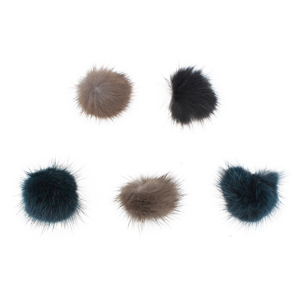 Yk-01041 Set For Creativity Pompon Natural Mink 2 Cm, 5 Pcs/pack