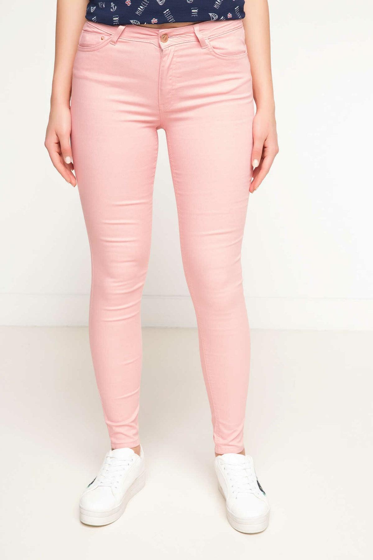 DeFacto Woman Pink Color Skinny Pants Women Casual Long Pants Female Pencil Pant Female Spring Bottoms Trousers-G6303AZ17SM