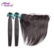 イラリア髪ペルーストレート人間の髪のバンドル閉鎖と 100% ペルーの Remy 毛 2 バンドル 13*4 レースフロント閉鎖