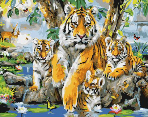Painting By Numbers GX 32735 Tiger Family 40*50