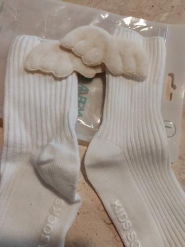 Baby Girls Knee High Socks Angel wing Summer Autumn Cotton Socks Solid Candy Color Kids Toddler Short Socks For Children photo review