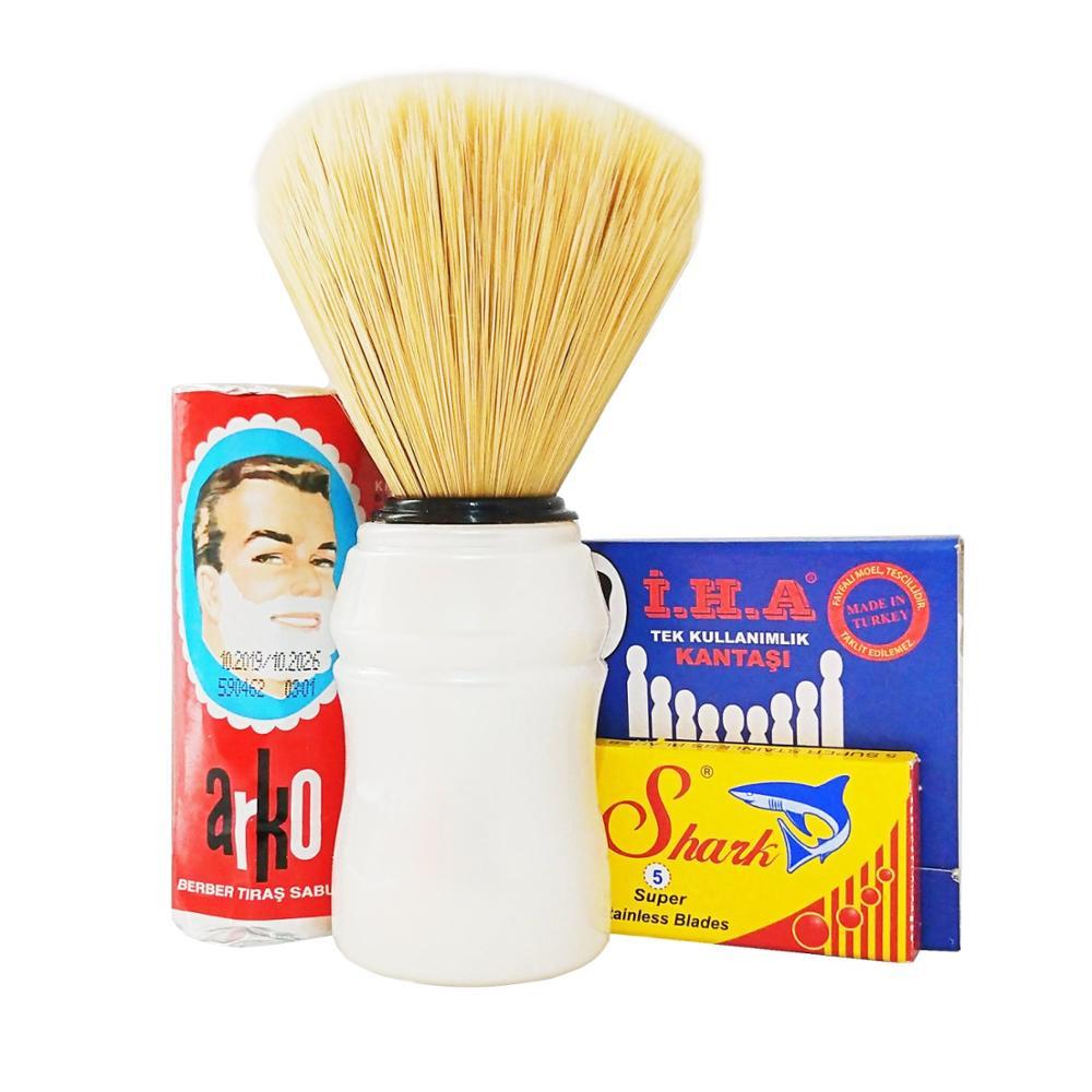 Arko Shaving Soap, Brush, Shark 5 Blades, Bleeding Stopper Shaving Set