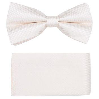 Men's bow tie, pocket square (microfiber, ivory) 53724