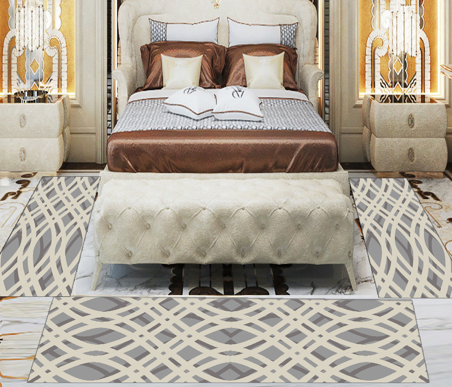Else 3 Piece Grey Beige Authentic Turkish Lines 3d Print Non Slip Microfiber Washable Decor Bedroom Hallway Area Rug Carpet Set