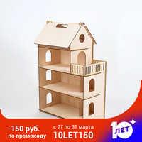 Casa de bonecas móveis diy miniatura 3d miniaturas de madeira brinquedos para crianças presentes de aniversário casa gatinho diário 000-674