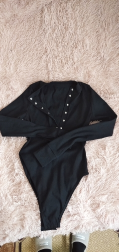 JULISSA MO Sexy V Neck Knitted Bodysuit Women Black Long Sleeve Buttons Rompers Womens Jumpsuit 2020 Casual One pieces Bodysuits      - AliExpress