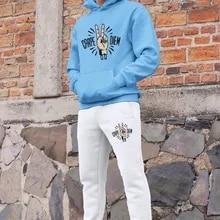 Angemiel Wear Carpediem Peace Mark, conjunto de chándal para hombres, sudadera azul con capucha, pantalones de chándal blancos