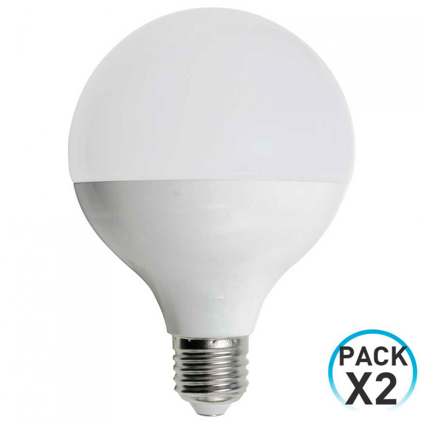 Pack 2 LED Globe Bulbs E27 9W Equi.60W 806lm 3000K 15000H 1Primer Low Cost