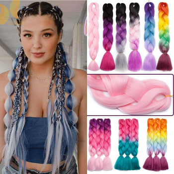XINRAN Braiding Hair Synthetic Jumbo Braids Extension White/Black Women Hot Style  Pink Purple Blue Blonde Pure Piano Color - discount item  40% OFF Synthetic Hair