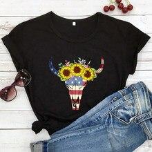 Engraçado bandeira americana girassol cabeça de gado camiseta independência dia camisas moda feminina casual vintage tumblr t topo