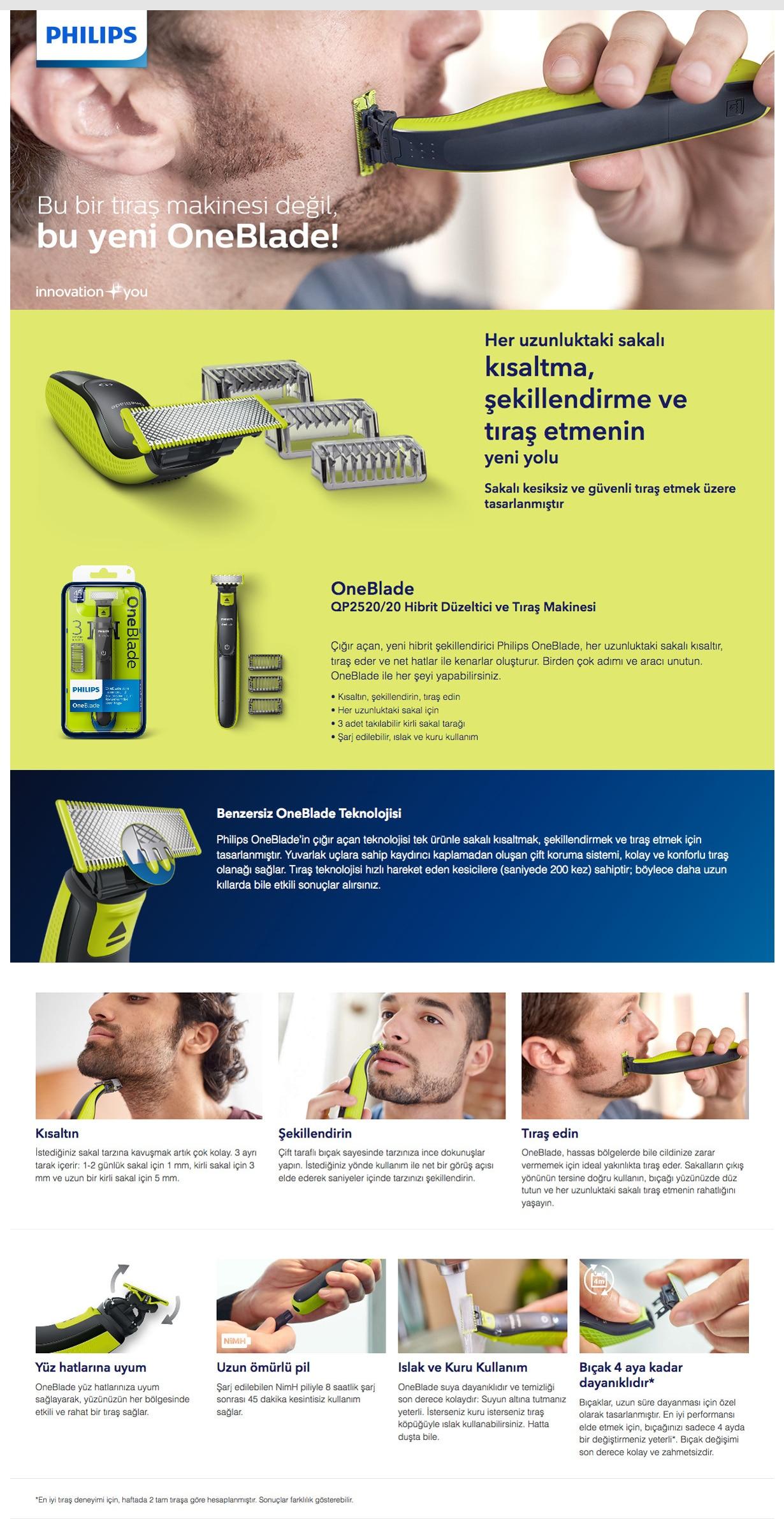 Philips oneblade aparador híbrido qp2520 30, pacote com lâmina extra