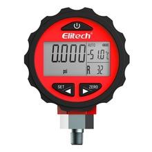 Elitech PG-30Pro Red Refrigeration HVAC Digital Pressure Gauge for 87+ Refrigerants with Backlight -14.5-800 PSI 1/8'' NPT