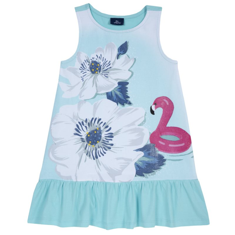 Dress Chicco, size 098, print flowers and Flamingo (blue and white) kids three dimensional flowers mesh princess dress