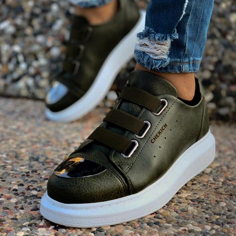 Chekich baskets pour hommes baskets confortable Flexible mode cuir mariage orthopédique marche chaussure Sport chaussures pour hommes confort unisexe léger léger chaussures de course décontractées respirant Zapatos Hombre CH251 - 6