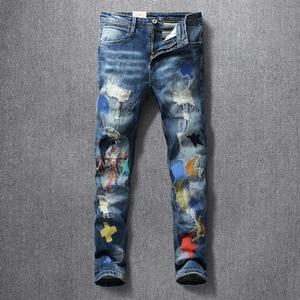 Image 2 - American Streetwear Fashion Men Jeans Elastic Slim Fit Ripped Denim Pencil Pants Homme Patches Designer Stretch Hip Hop Trousers