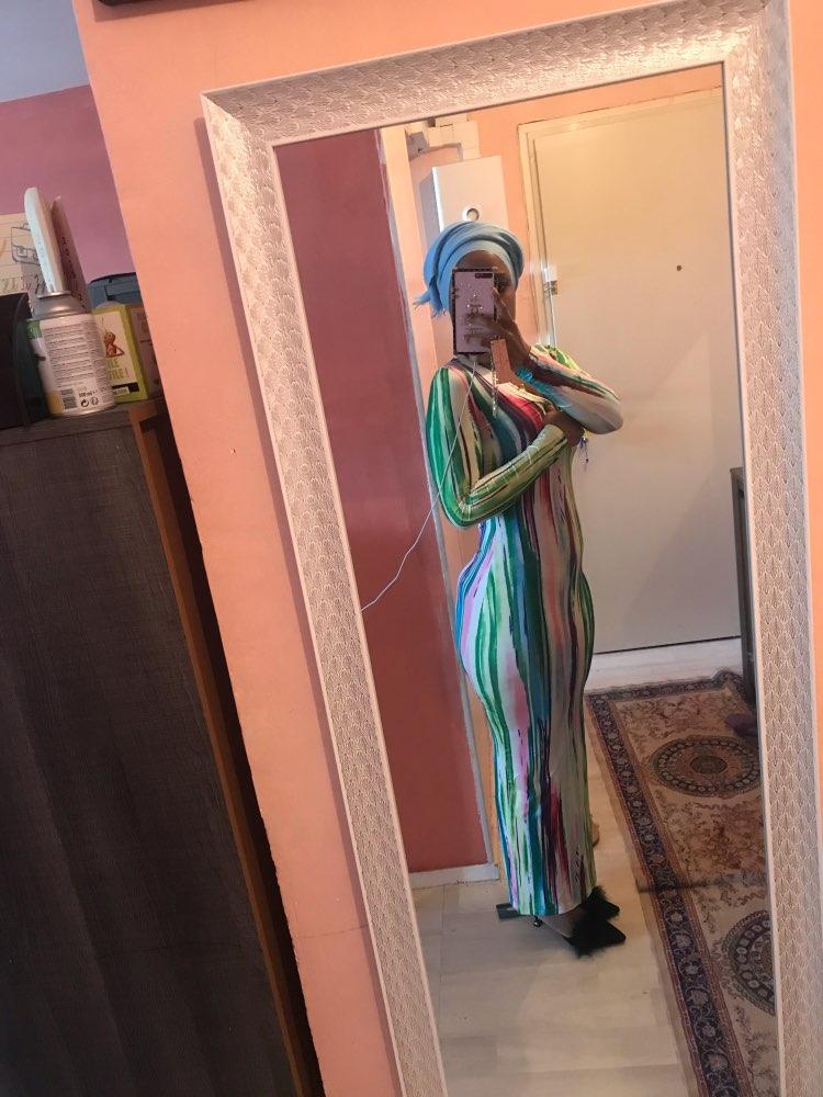 Simenual Printed V Neck Sexy Women Party Dress Long Sleeve Fashion 2020 Spring Skinny Bodycon Clubwear Hot Slim Maxi Dresses New reviews №2 184743