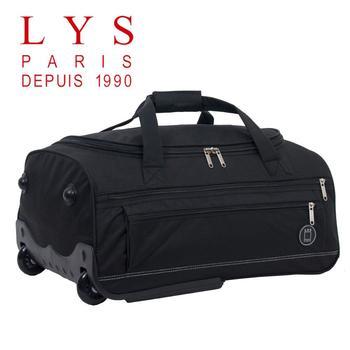 LYS Sac De Voyage Femme Homme à Roulettes Cabine System Trolley Souple 2 Roues 77cm Noir