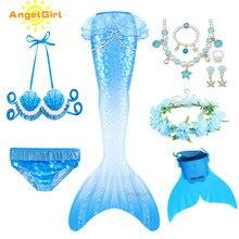 AngelGirl 2020 yüzücü denizkızı kuyruğu çocuk Flipper ile kız Mermaid mayo çocuk Mermaid tatil plaj Cosplay kostüm