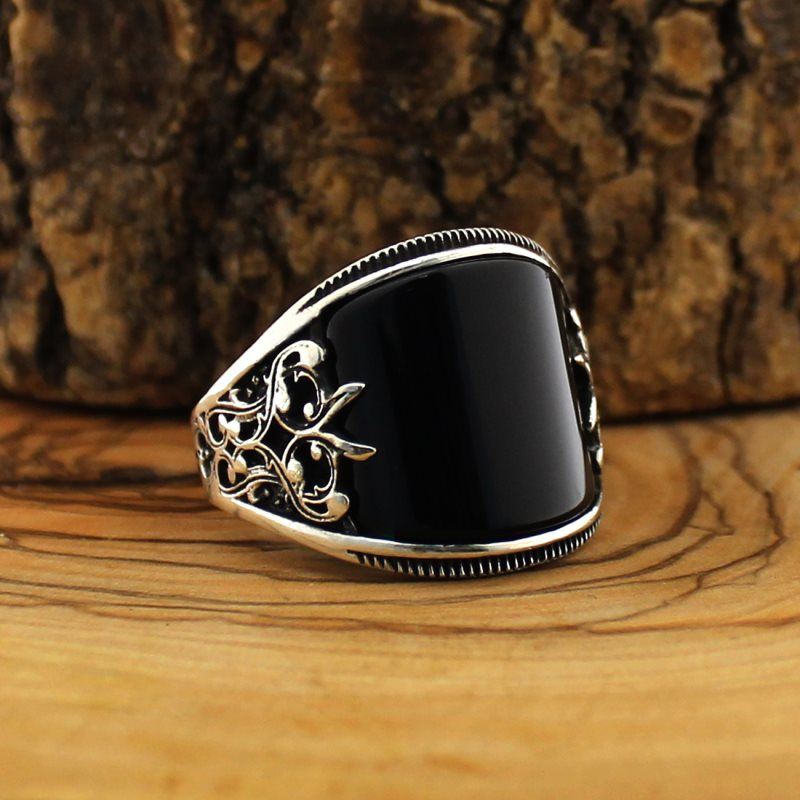 Black CZ Stone 925 Sterling Silver Horse Design Turkish Men/'s Ring All Sizes