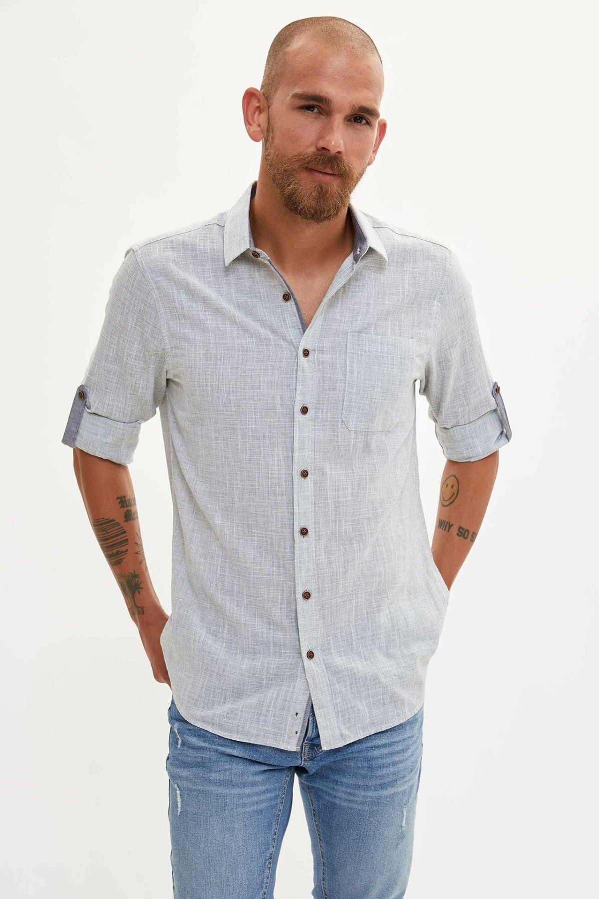 DeFacto Men Fashion Solid Lapel Collar Shirts Short Sleeve Simple Shirts Men Casual Polos Cotton Shirt - L8485AZ19AU