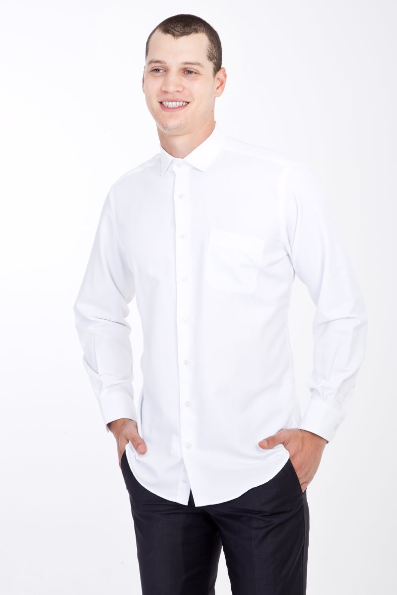 Kigili Shirts Menswear White Long Sleeve Plaid High Quality Classic Fit Spread Collar Made In Turkey