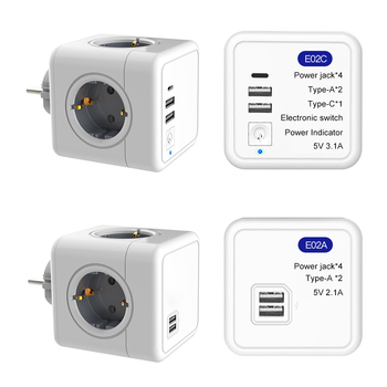 Power Wall Outlets Power Strip Powercube Smart USB Socket 5V 2.1A 250V Multiprise Wall 4 Outlet Extension Adapter Socket 2500W image