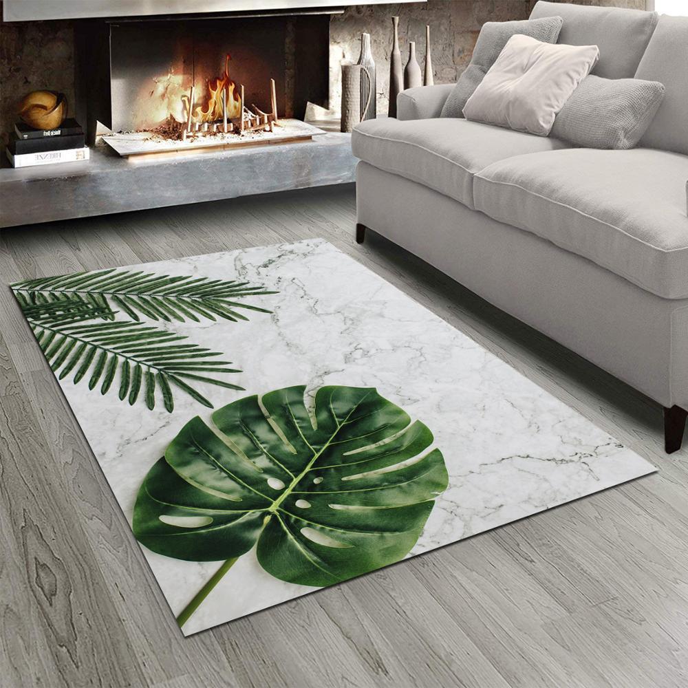 Else Gray Marble Tropical Green Leaves 3d Print Non Slip Microfiber Living Room Bedroom Modern Floor Carpet Washable Rug Mat