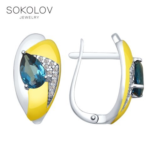 SOKOLOV Silver Drop Earrings With Stones With Blue Topaz And Cubic Zirconia Fashion Jewelry Silver 925 Women's Male, Long Earrings