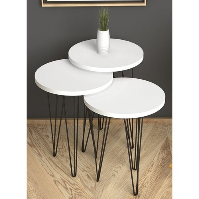 MADE IN TURKEY 3 Pieces White-Black Coffee Tables Mini Modern Practical Tea Tables Living Room Zigon Wood Home Accessories Metal