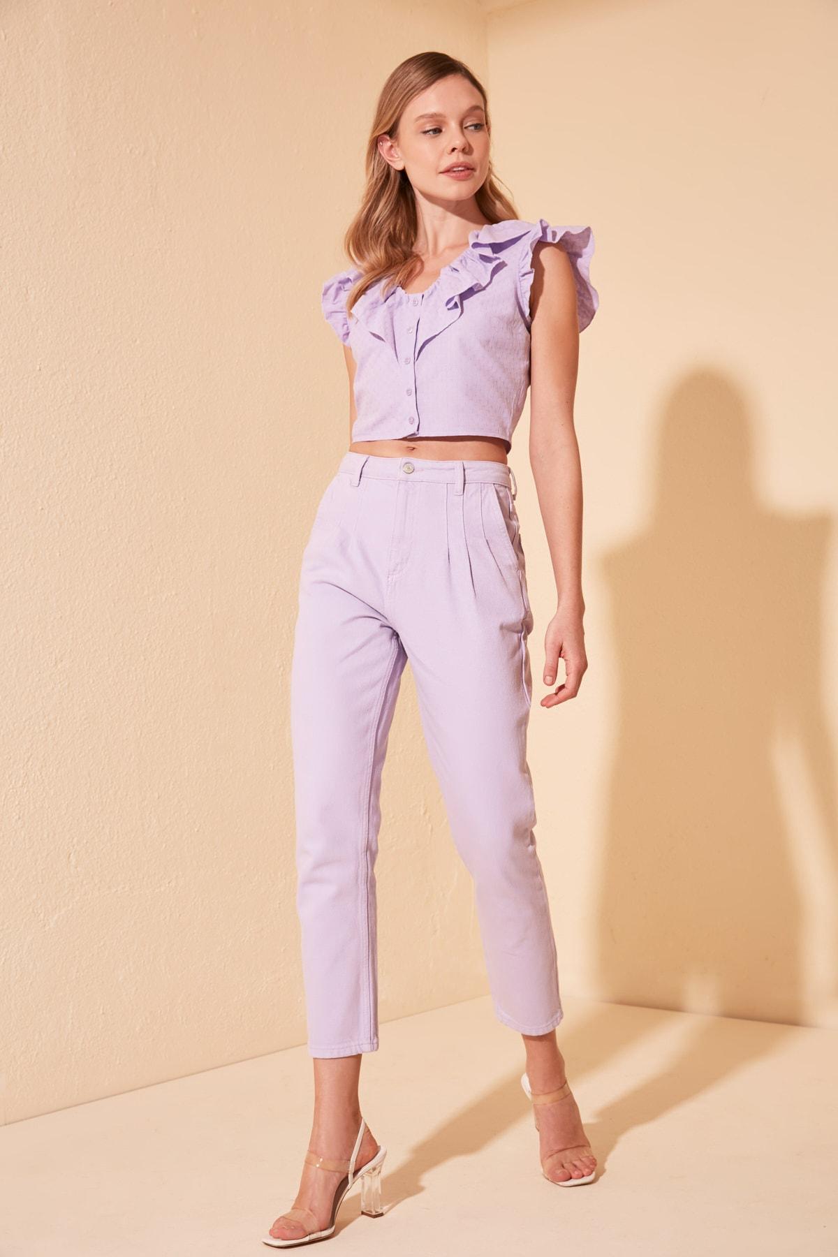Trendyol Pleat Detailed High Bel Mom Jeans TWOSS20JE0387