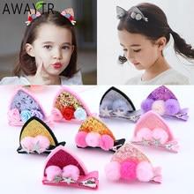 2 pz/set clip di capelli carino per ragazze Glitter arcobaleno feltro tessuto fiori forcine orecchie di gatto coniglietto Barrettes accessori per capelli per bambini